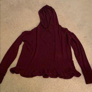 Cute purple hoodie w/ little ruffles at the bottom